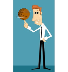 Cartoon office worker with basketball vector image