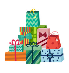 Cartoon present gift box ribbon bow pile vector