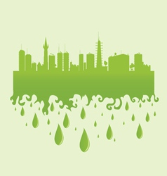 city green with water drop vector image