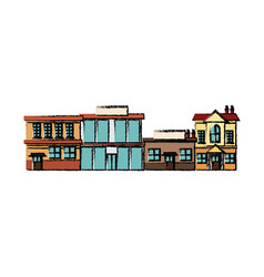City urban office buildings shops exterior vector