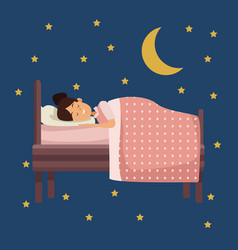 colorful scene night with girl sleep in bed vector image
