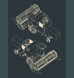 combine harvester blueprints isometric vector image