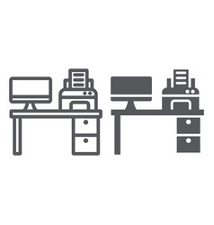 computer desk line and glyph icon office and vector image
