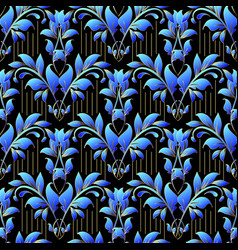 Damask floral 3d seamless pattern ornamental vector