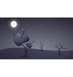 Dark night cartoon landscape for game design vector