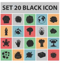 different explosions black icons in set collection vector image