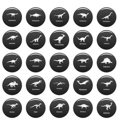 dinosaur types signed name icons set vetor black vector image