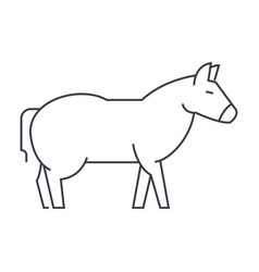 Donkey line icon sign on vector