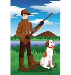 Duck hunter with his dog vector