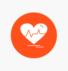 ecg heart heartbeat pulse beat white glyph icon vector image