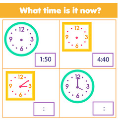 Educational game for chilcren draw time on clock vector