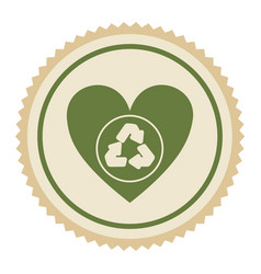 emblem green heart with ecolgy symbol vector image