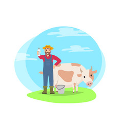 farmer with cow on field cartoon icon vector image