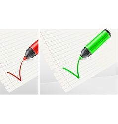 Felt tip green pen checklist vector
