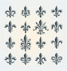 fleur-de-lis vintage symbols set vector image
