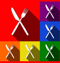 fork and knife sign set of icons with vector image