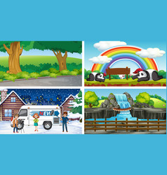 four scenes different locations vector image
