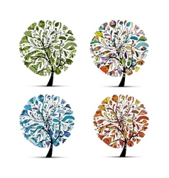 Four seasons - spring summer autumn winter Art vector