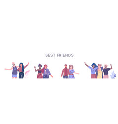 friends characters people hanging together vector image