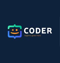 fun coding developer coding icon programming vector image