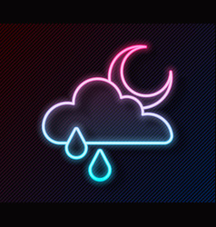 glowing neon line cloud with rain and moon icon vector image