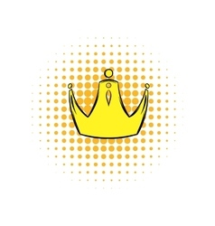 Golden crown comics icon vector