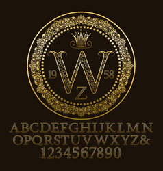 golden ornate letters and numbers with monogram vector image