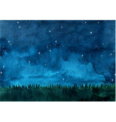 Grass meadow with night sky watercolor background vector