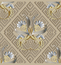 Greek vintage floral 3d seamless pattern light vector