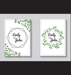 greenery cards eucalypthus wedding invitation set vector image