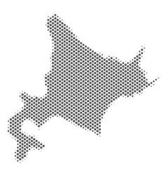 Halftone silver hokkaido island map vector