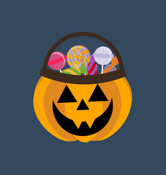 halloween pumpkin and candies vector image