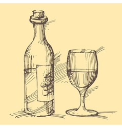 hand drawn a bottle wine with a glass vector image