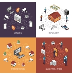 Home Security 4 Isometric Icons Square vector image