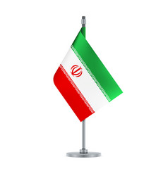 iranian flag hanging on the metallic pole vector image