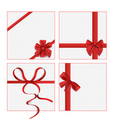 isolated red ribbon bow set on blank square gift vector image