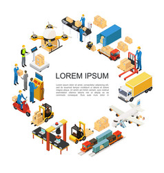 isometric global logistics round concept vector image