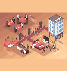 isometric hotel horizontal background vector image