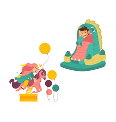 Kids jumping in bouncer and riding spring horse vector