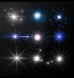 Light glow and shimmer highlight effect star vector