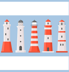 Light house icons collection set 1 vector