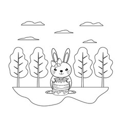 Line female rabbit with sweet donuts in the vector