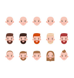 male heads with various hairstyles and mood set vector image