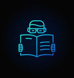 man reading a book blue icon vector image