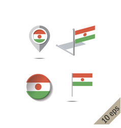 Map pins with flag niger vector