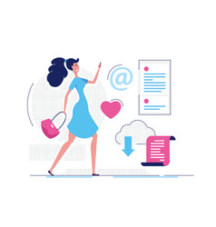 modern girl - modern flat design style vector image
