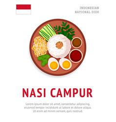 nasi campur national indonesian dish vector image