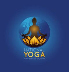 national yoga awareness month logo icon vector image