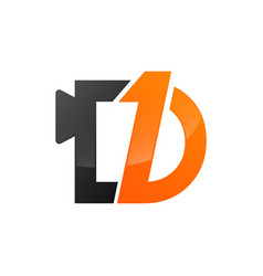 Number one and letter d in black orange color logo vector