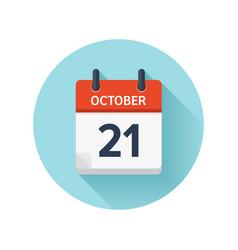 October 21 flat daily calendar icon date vector